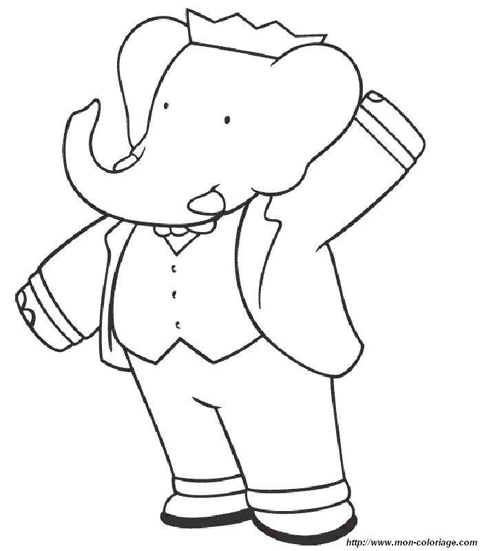 Ausmalbilder Der Elefant Babar, bild babar