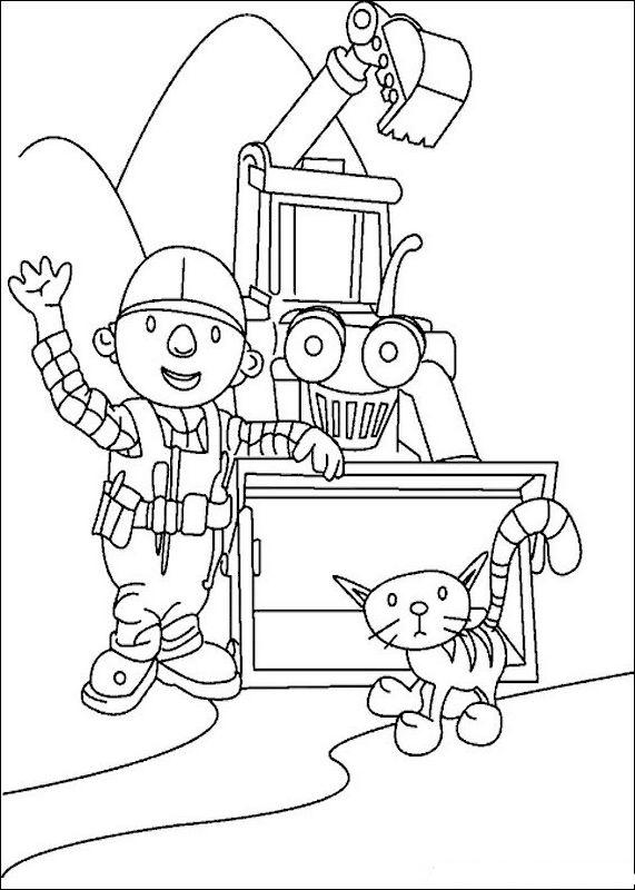 Baustellenfahrzeuge ausmalbilder  Ausmalbilder Bob der Baumeister, bild Hallo Freunde