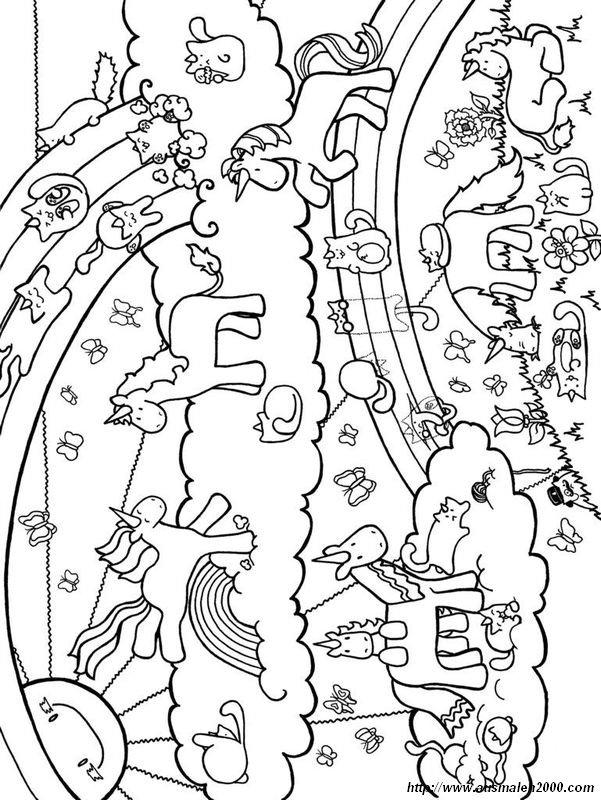 Ausmalbilder einhorn bild interessante landschaft - Libero unicorno pagine da colorare ...