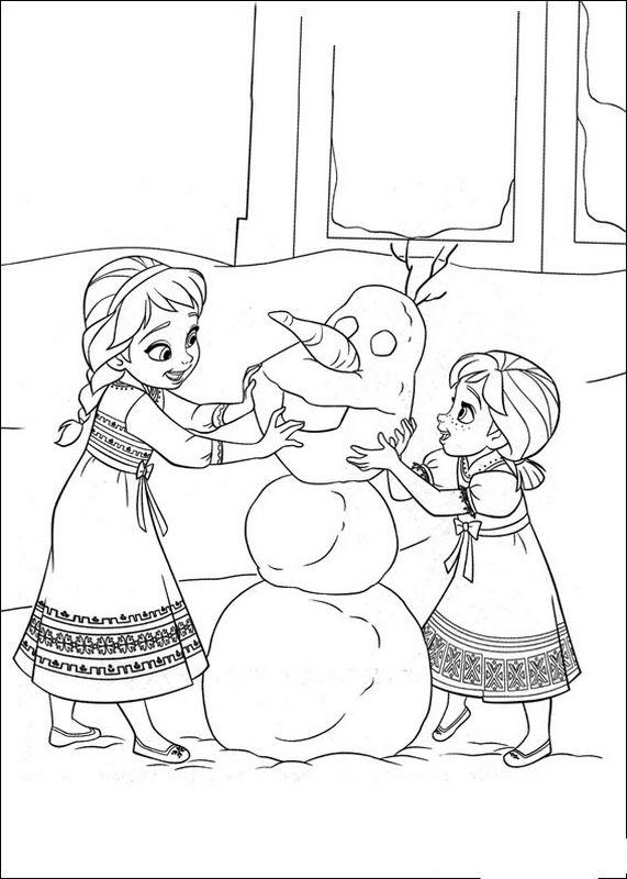 ausmalbilder die eiskönigin - frozen, bild elsa anna und olaf