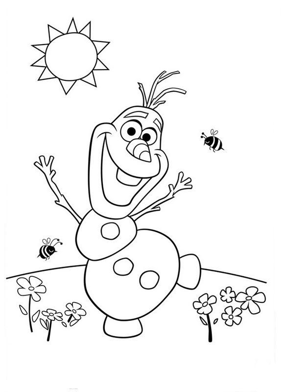 Ausmalbilder Die Eiskönigin Frozen Bild Olaf Und Die Feder
