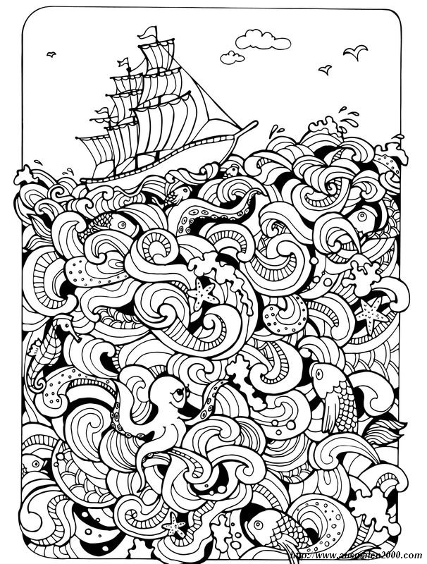 Ausmalbilder Für Erwachsene Bild Boot Auf Dem Meer