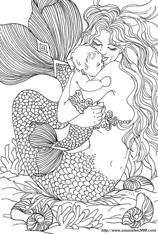 Ausmalbilder Für Erwachsene Bild Meerjungfrau Mit Einem Baby