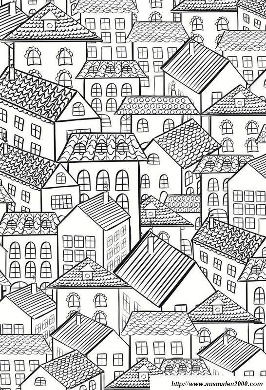 Ausmalbilder Für Erwachsene, bild Stadt Ausmalbilder