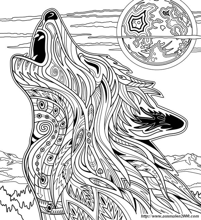 Ausmalbilder Für Erwachsene, bild Wolf bei Vollmond