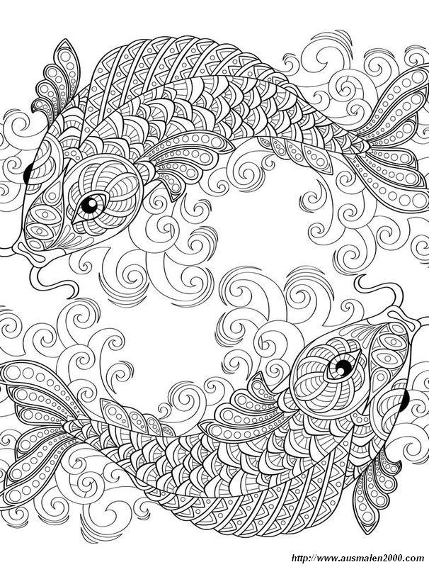 Ausmalbilder Für Erwachsene Bild Zwei Symmetrische Fisch