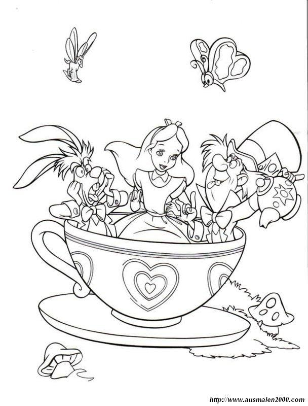 Ausmalbilder Alice im Wunderland, bild Alice mit ihren Freunden in ...