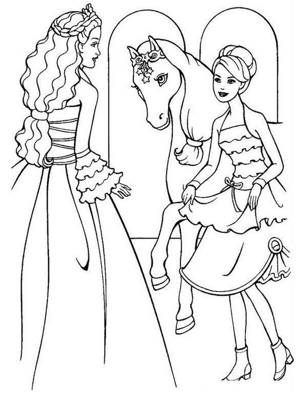 Ausmalbilder Barbie Bild Das Pferd Im Schloss