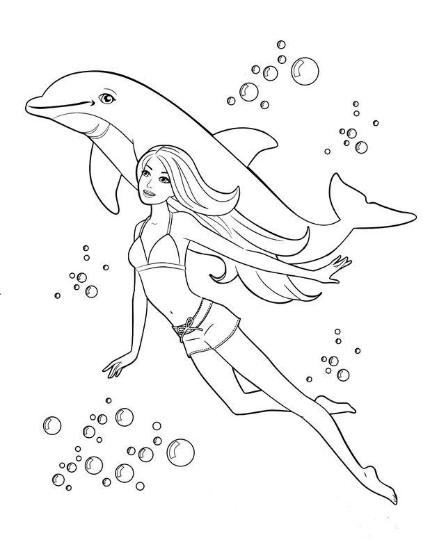 Ausmalbilder Barbie Bild Ein Delfin Mit Barbie Im Meer