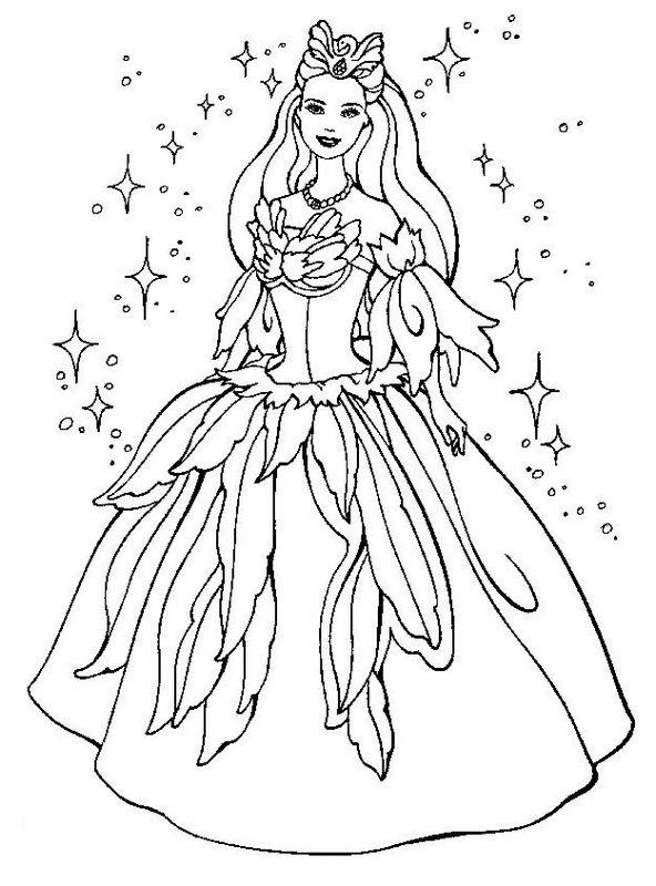 Ausmalbilder Barbie, bild Ein Kleid zum Tanzen