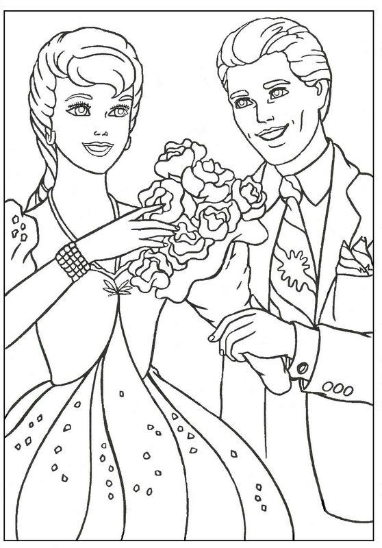 Ausmalbilder Barbie, bild Ken mit einem Blumenstrauss