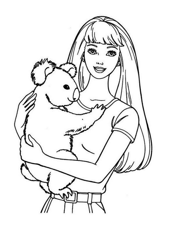 Ausmalbilder Barbie Bild Mit Einem Kleinen Koala