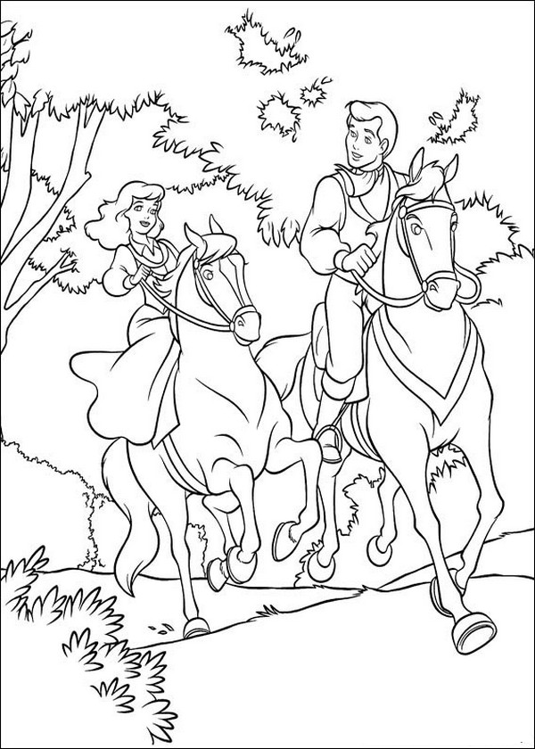 Ausmalbilder Cinderella, bild Cinderella und ihr Prinz auf dem Pferd