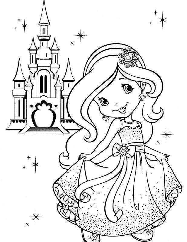 Ausmalbilder Emily Erdbeer, bild Prinzessin und Burg