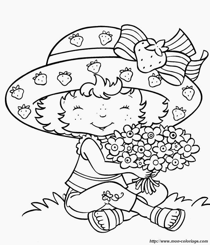 ausmalbilder emily erdbeer bild mit einem blumenstrauss