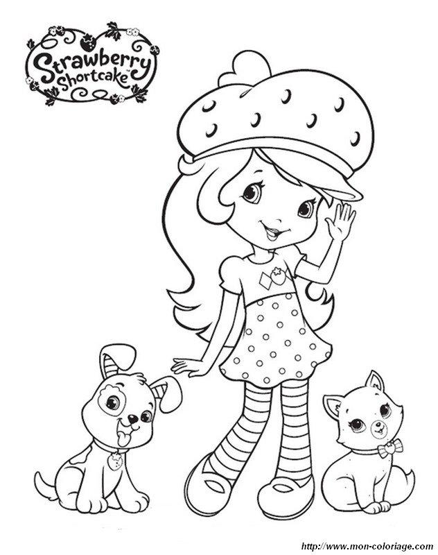 Ausmalbilder Emily Erdbeer, bild mit hund und katze