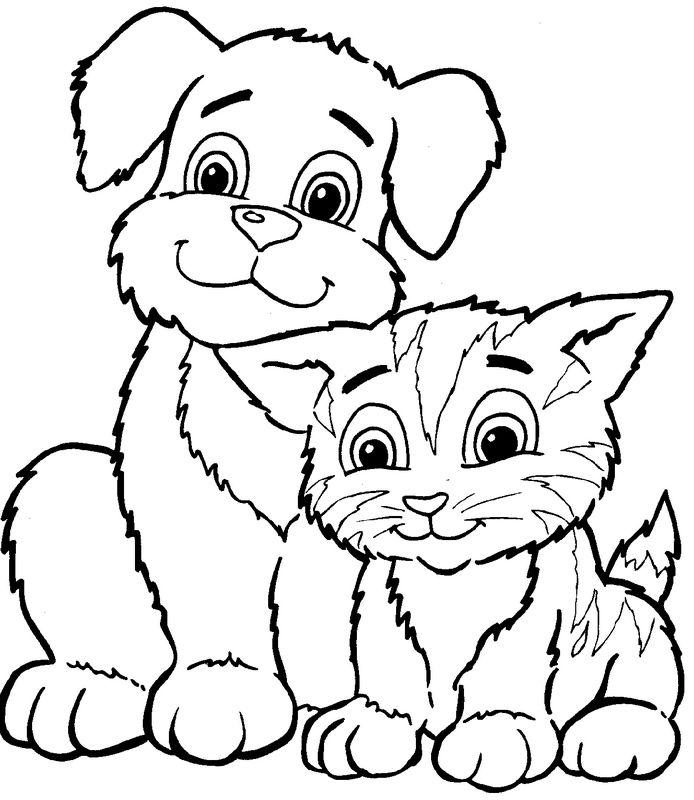 ausmalbilder katze, bild mit seinem freund den hund
