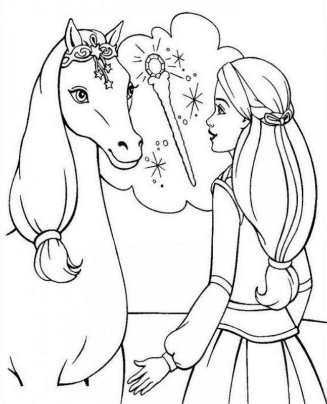 Ausmalbilder Pferde Bild Barbie Mit Ihrem Magischen Pferd