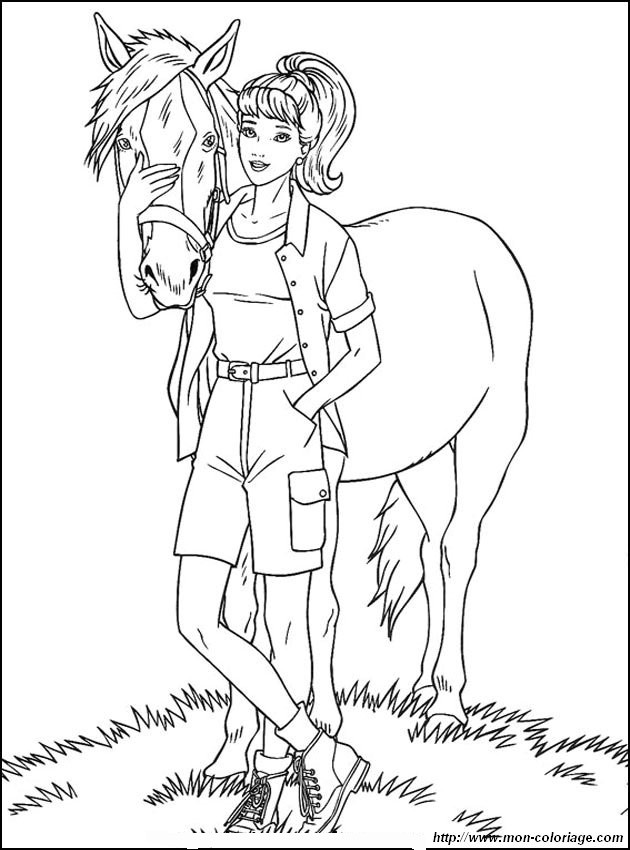 ausmalbilder pferde bild barbie mit einem pferd