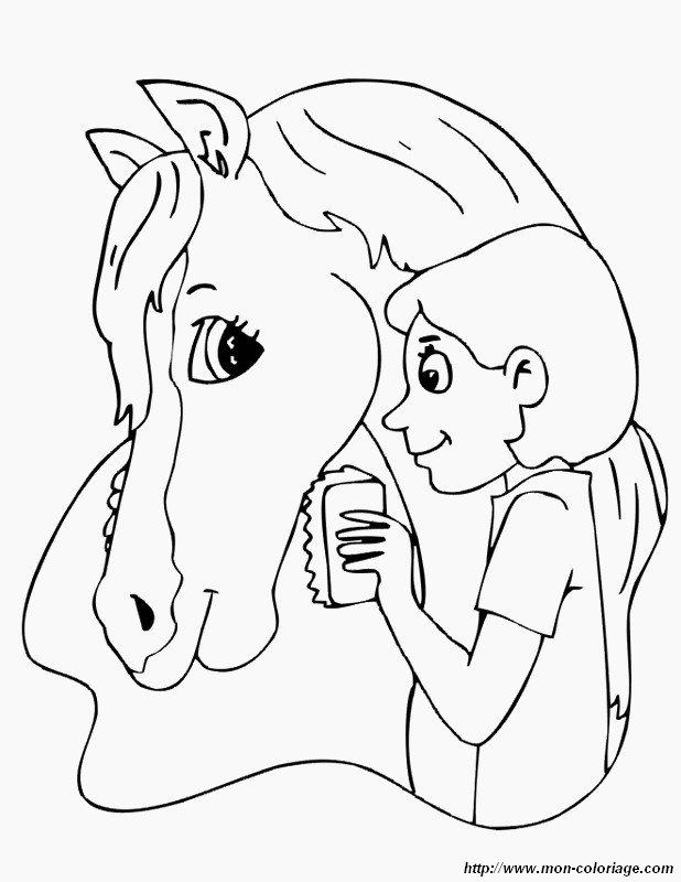 Ausmalbilder Pferde, bild putzen sie ihr pferd