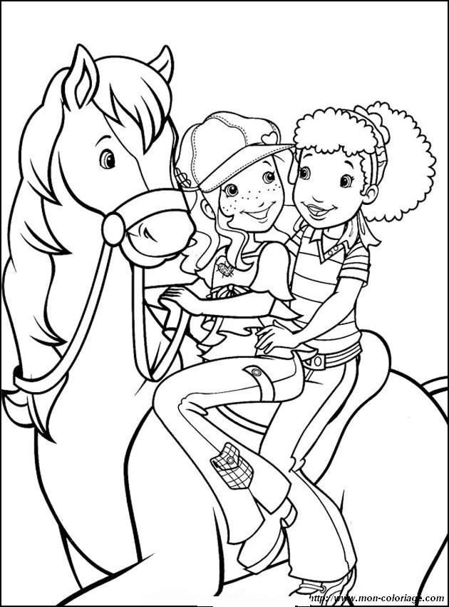 ausmalbilder pferde, bild zwei freunde auf einem pferd