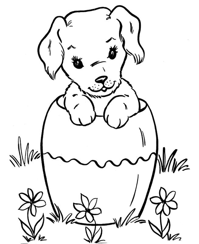 Ausmalbilder Hund Bild Kleiner Hund Im Garten