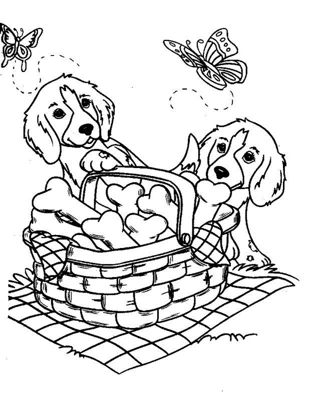 Ausmalbilder Hund bild Picknick mit Schmetterlingen
