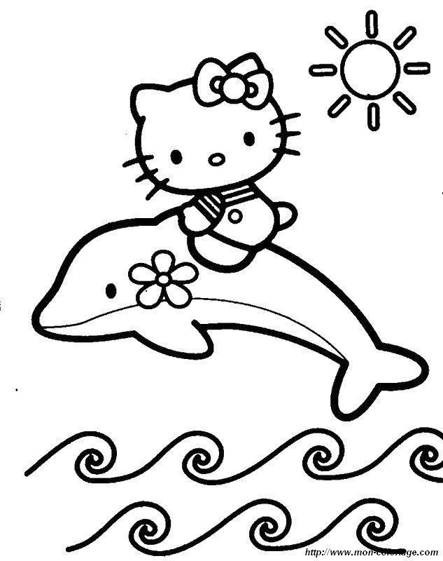 ausmalbilder delfin bild hello kitty auf einem delphin