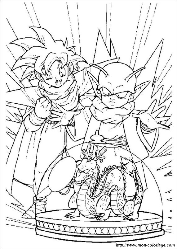 Ausmalbilder Dragon Ball Z, bild son gohan mit dragon