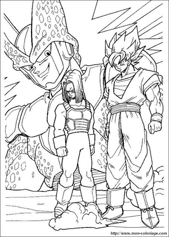 Ausmalbilder Dragon Ball Z, bild trunks cell son goku