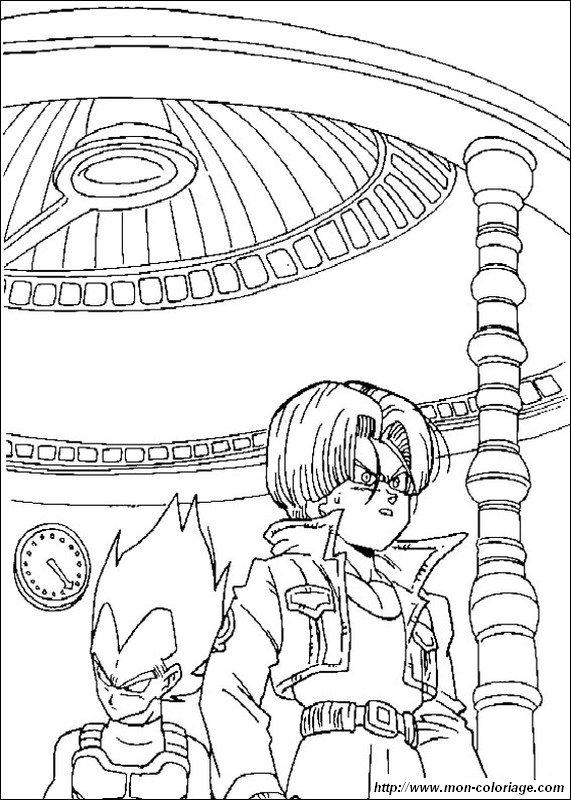 Ausmalbilder Dragon Ball Z Bild Trunks Mit Seinem Vater Vegeta