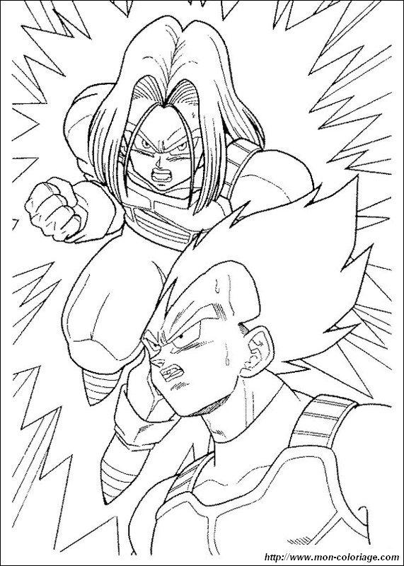 Ausmalbilder Dragon Ball Z Bild Vegeta Mit Seinem Sohn Trunks