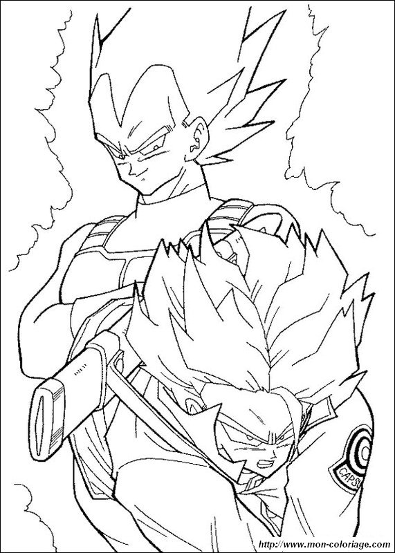 Ausmalbilder Dragon Ball Z Bild Vegeta Und Trunks Super Saiyajin