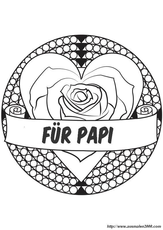 ausmalbilder vatertag bild eine rose fur papa