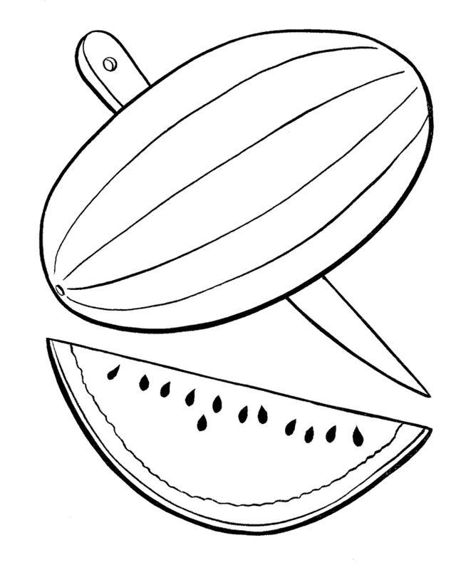 ausmalbilder frucht oder obst bild melone mit einem messer. Black Bedroom Furniture Sets. Home Design Ideas
