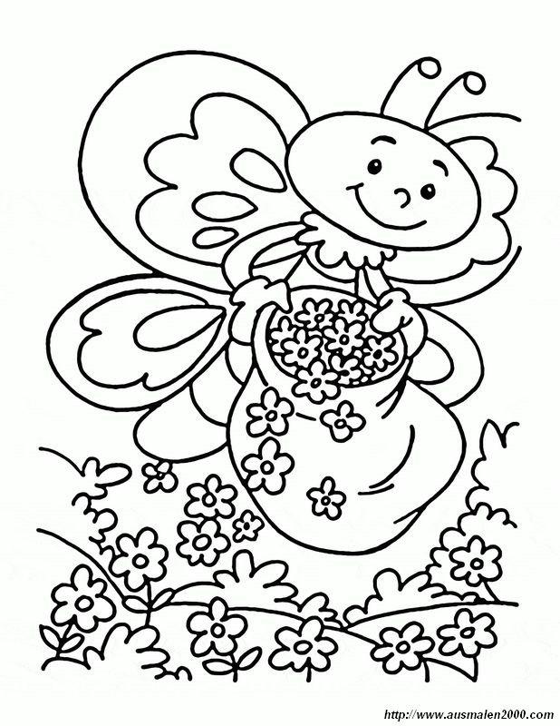Ausmalbilder Frühling Bild Dieser Schmetterling Liebt Blumen