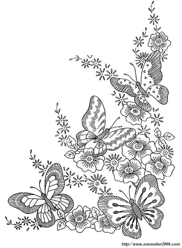 Ausmalbilder Frühling Bild Schmetterlings Montage