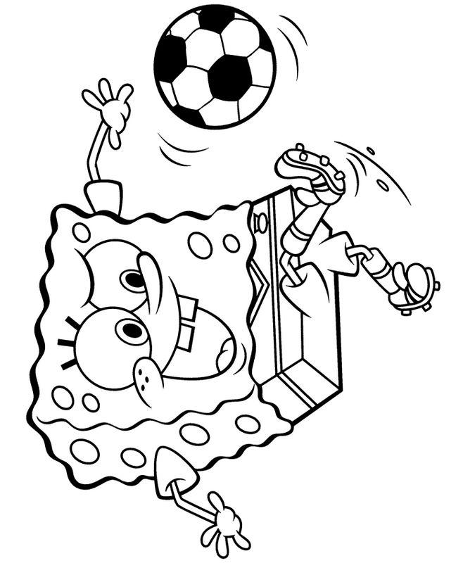 Ausmalbilder Fußball Bild Spongebob Schwammkopf Das Spiel