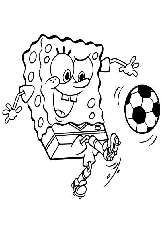 Ausmalbilder Fußball Bild Spongebob Schwammkopf