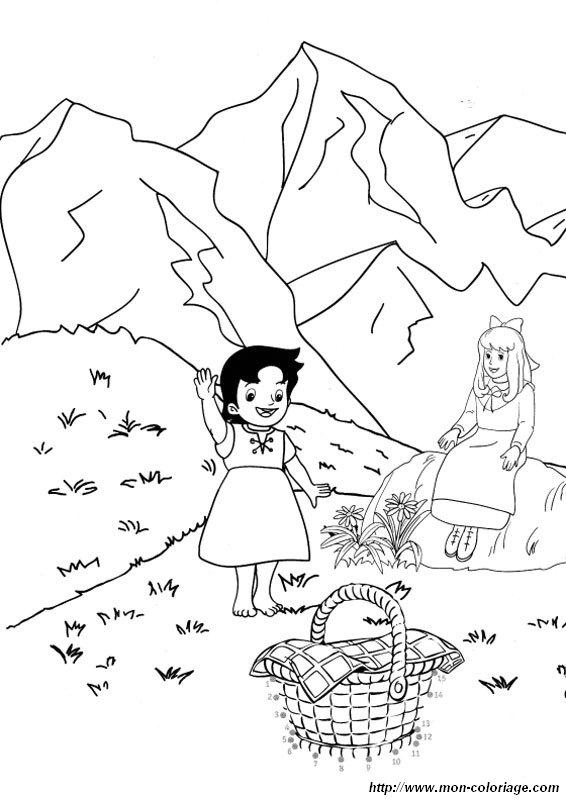 Ausmalbilder Heidi, bild hedi und clara in den almen