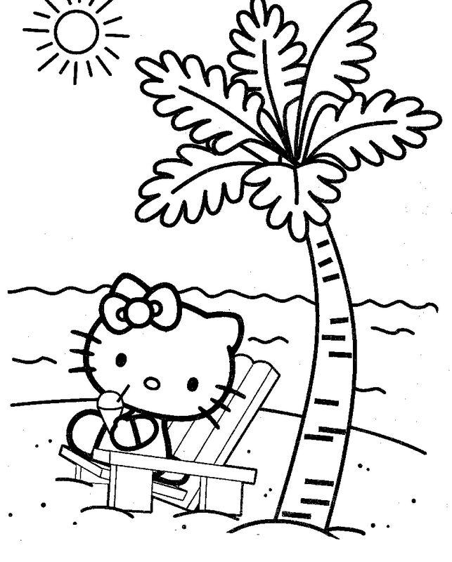 Ausmalbilder Hello Kitty, bild Am Strand unter eine Kokospalme