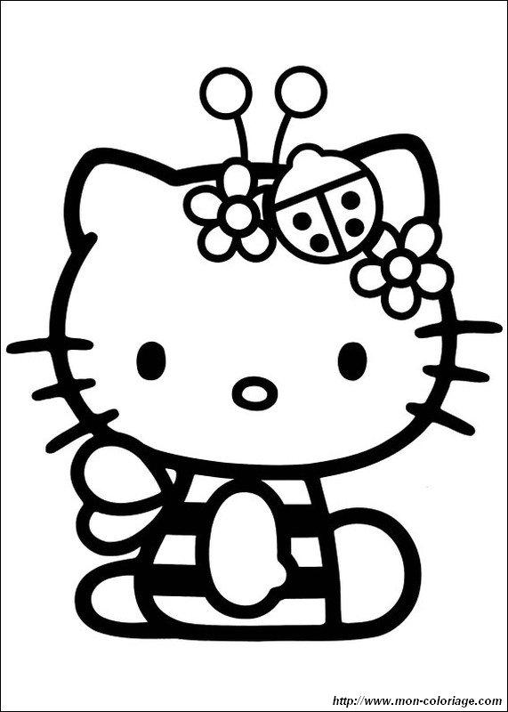 Ausmalbilder Hello Kitty, bild Biene und Marienkafer