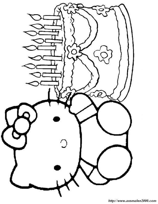 Ausmalbilder Hello Kitty Bild Hello Kitty Geburtstag Mit Einem Kuchen