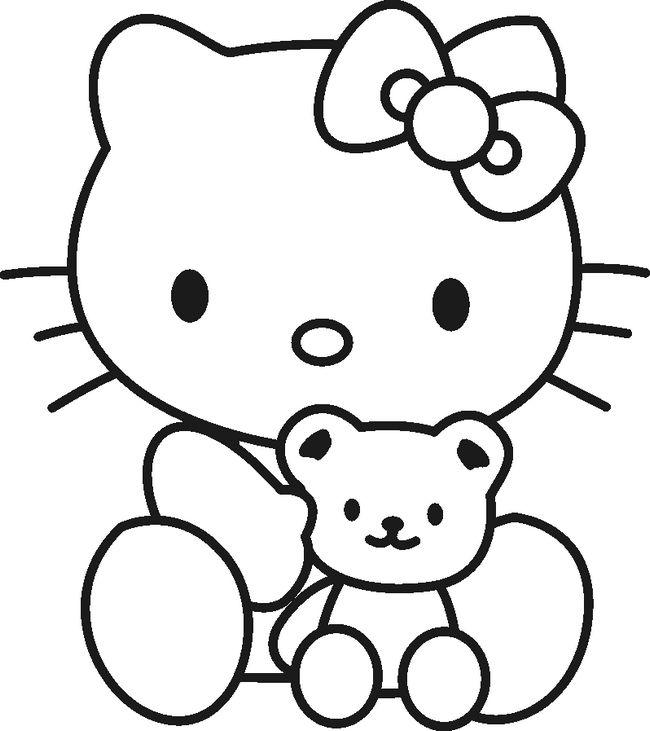 Ausmalbilder Hello Kitty Bild Hello Kitty Mit Ihrem Teddy