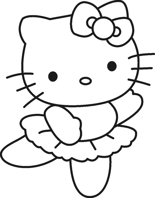 Ausmalbilder Hello Kitty, bild Kleine ballerina Hello Kitty