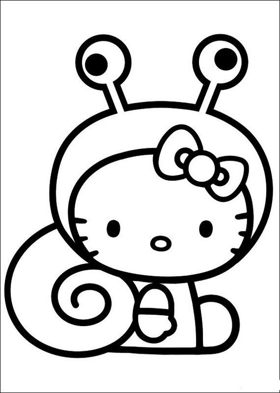 Ausmalbilder Hello Kitty, bild Sympathische Schnecke