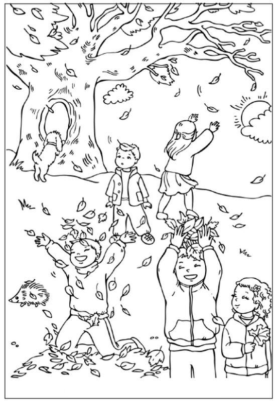 Ausmalbilder Herbst Bild Kinder Spielen Im Wald