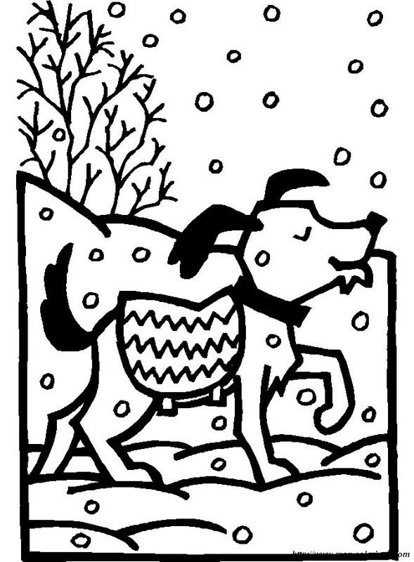 ausmalbilder winter bild winter hund