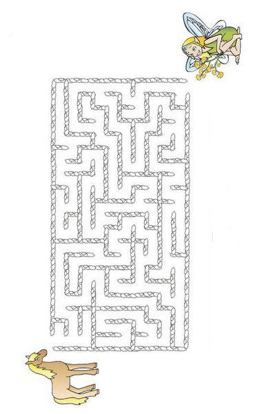 Ausmalbilder Labyrinth Spiele Bild Pferd Und Fee