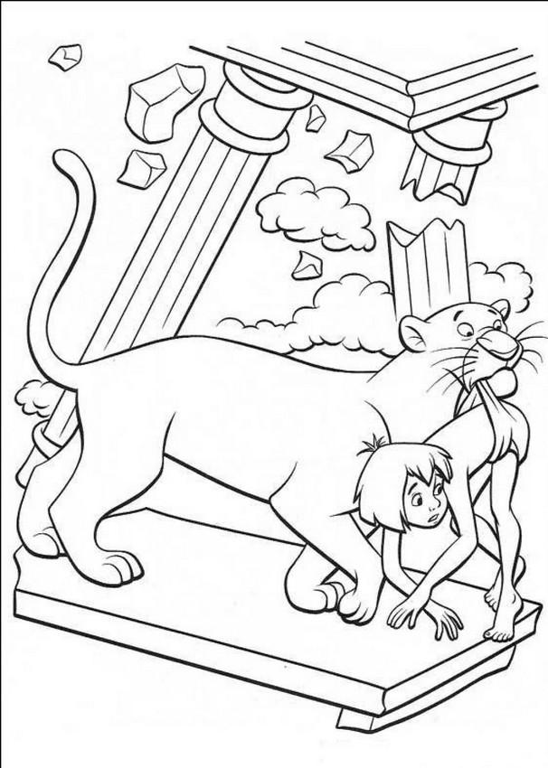 Ausmalbilder Das Dschungelbuch, bild Baghira hilft Mogli